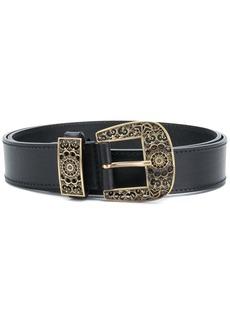 Alberta Ferretti engraved buckle belt - Black