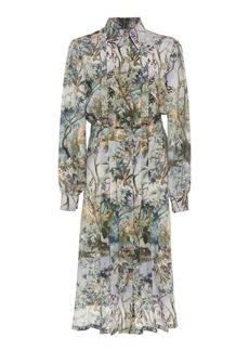 Alberta Ferretti Floral Crepe De Chine Shirt Dress