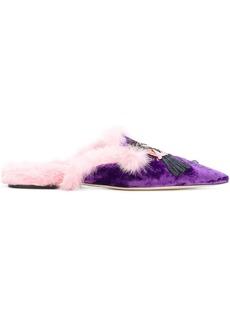 Alberta Ferretti furry detail mules - Pink & Purple