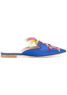 Alberta Ferretti parrot embroidered mules - Blue