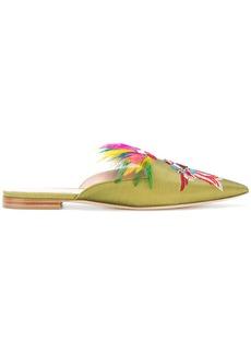 Alberta Ferretti parrot embroidered mules - Green