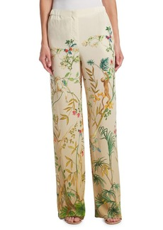 Alberta Ferretti Printed Silk Trousers