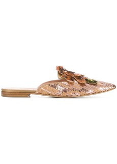 Alberta Ferretti pointed sequin sandals - Pink & Purple