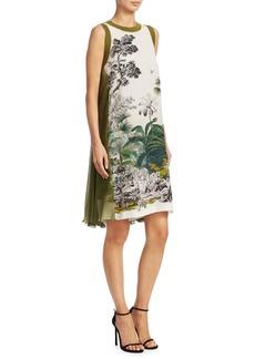 Alberta Ferretti Printed Silk Chiffon-Back Dress