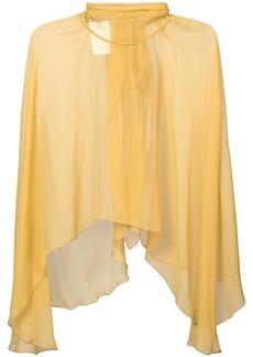 Alberta Ferretti ruffled high neck organza blouse - Yellow & Orange