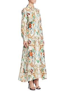 Alberta Ferretti Silk Floral Print Shirt Dress