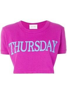 Alberta Ferretti Thursday print cropped T-shirt - Pink & Purple