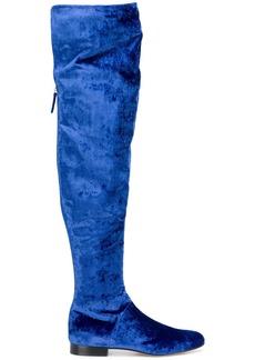 Alberta Ferretti velvet over-the-knee boots - Blue