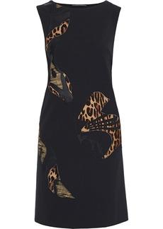 Alberta Ferretti Woman Appliquéd Faux Leather-trimmed Twill Dress Black