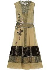 Alberta Ferretti Woman Appliquéd Silk-georgette Lace And Velvet Midi Dress Sage Green