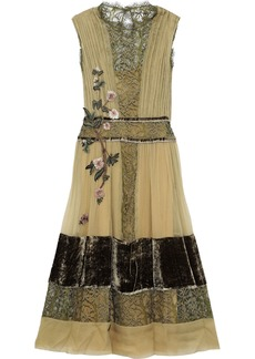 Alberta Ferretti Woman Appliquéd Silk-georgette Lace And Velvet Midi Dress Sage Green