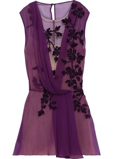 Alberta Ferretti Woman Appliquéd Tulle-paneled Draped Silk-chiffon Top Purple