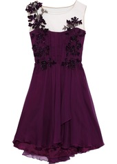 Alberta Ferretti Woman Appliquéd Tulle-paneled Silk-georgette Mini Dress Plum