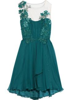 Alberta Ferretti Woman Appliquéd Tulle-paneled Silk-georgette Mini Dress Teal