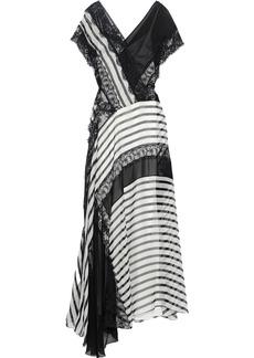 Alberta Ferretti Woman Asymmetric Lace-paneled Striped Silk-chiffon Gown Black