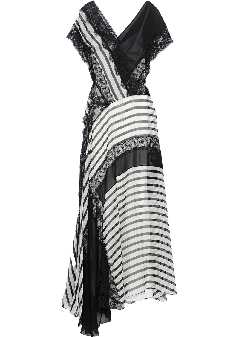 Alberta Ferretti Woman Asymmetric Lace-paneled Striped Silk-chiffon Gown Black