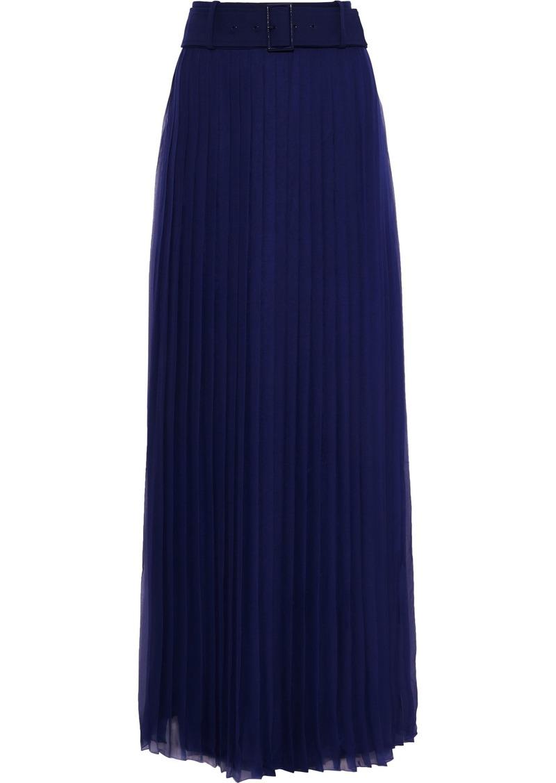 Alberta Ferretti Woman Belted Pleated Silk-chiffon Maxi Skirt Royal Blue