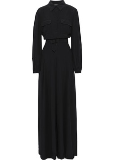 Alberta Ferretti Woman Belted Washed-silk Wide-leg Jumpsuit Black