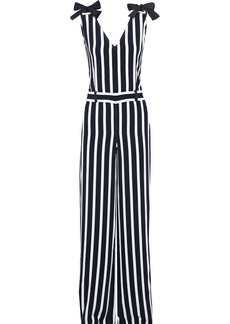 Alberta Ferretti Woman Bow-detailed Striped Crepe Jumpsuit Midnight Blue