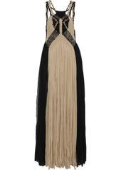 Alberta Ferretti Woman Braided Fringed Two-tone Silk-georgette Gown Black