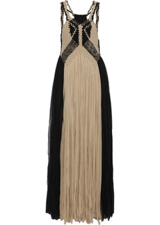Alberta Ferretti Woman Braided Fringed Two-tone Silk-georgette Gown Black