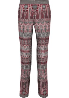 Alberta Ferretti Woman Brocade Straight-leg Pants Plum