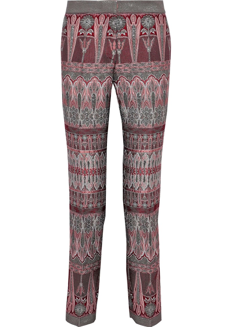 Alberta Ferretti Woman Brocade Straight-leg Pants Plum