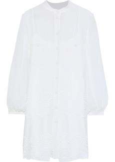 Alberta Ferretti Woman Broderie Anglaise Chiffon Mini Shirt Dress White