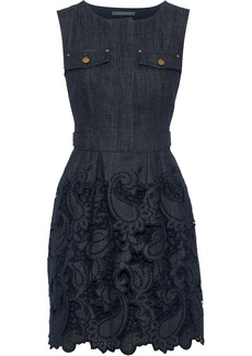 Alberta Ferretti Woman Broderie Anglaise Denim Mini Dress Dark Denim