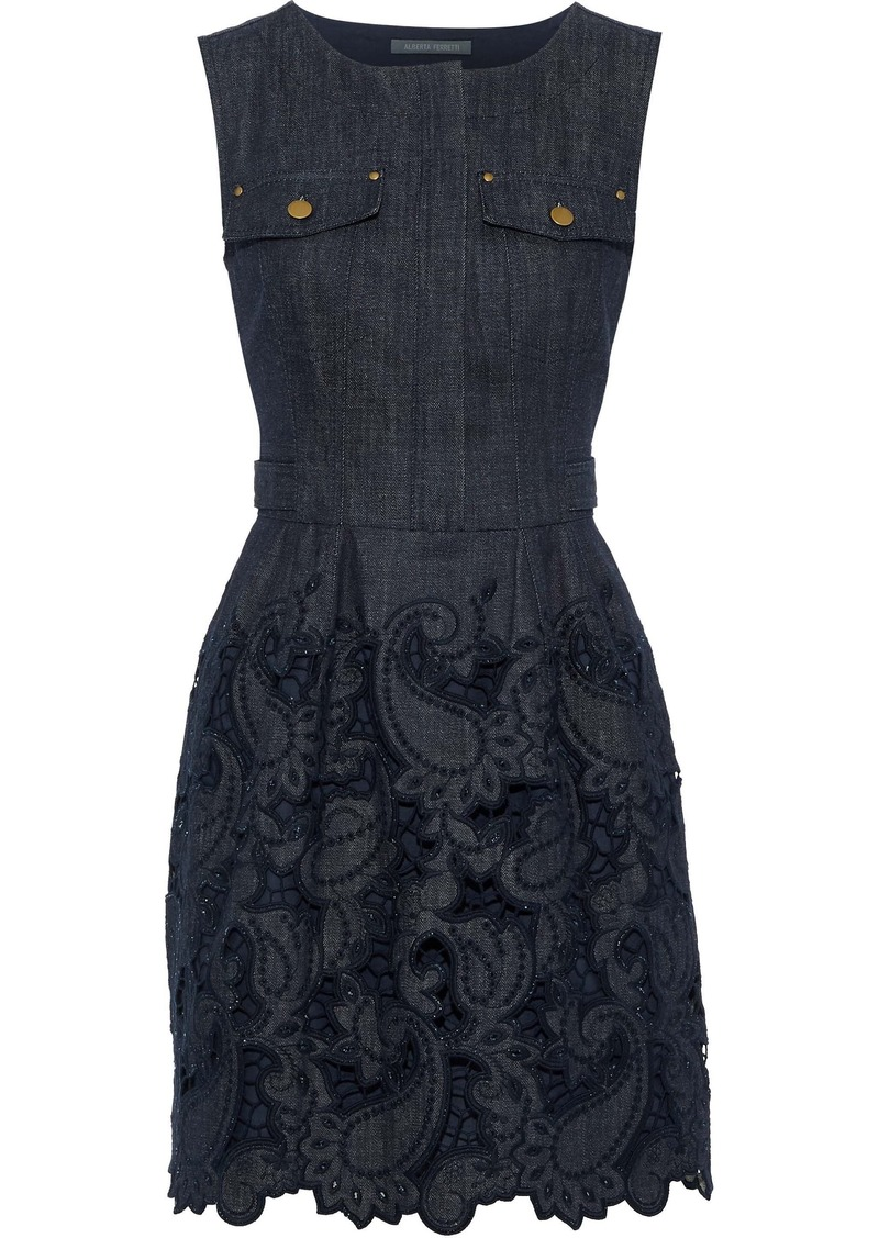 Alberta Ferretti Woman Broderie Anglaise Denim Mini Dress Dark Denim