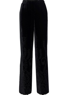 Alberta Ferretti Woman Broderie Anglaise Velvet Wide-leg Pants Black