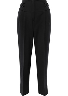 Alberta Ferretti Woman Buckled Wool-blend Tapered Pants Black