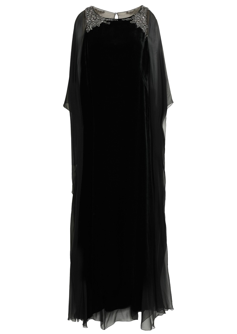 Alberta Ferretti Woman Cape-back Embellished Chiffon-paneled Velvet Gown Black