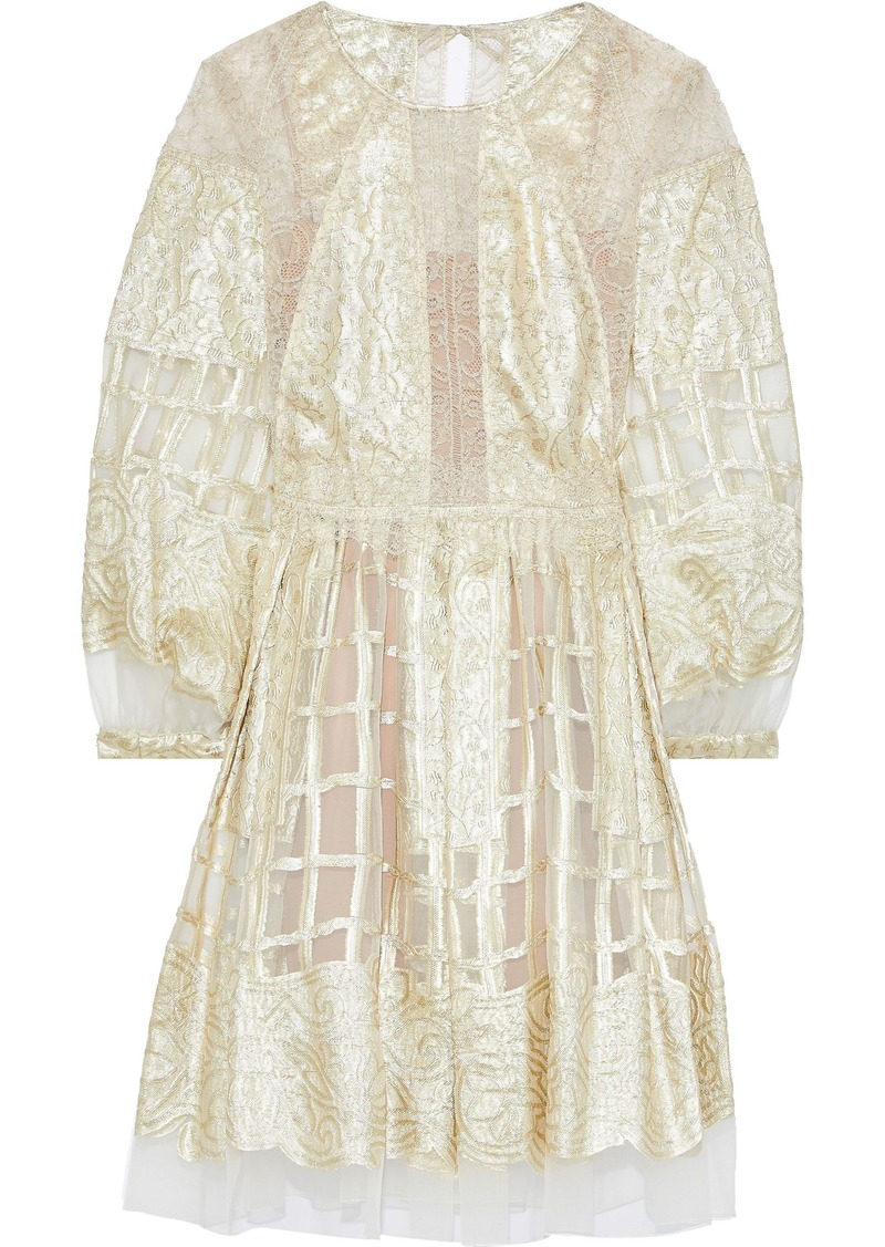 Alberta Ferretti Woman Chantilly Lace-paneled Metallic Fil Coupé Silk-blend Organza Dress Gold