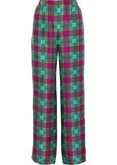Alberta Ferretti Woman Checked Silk Wide-leg Pants Multicolor