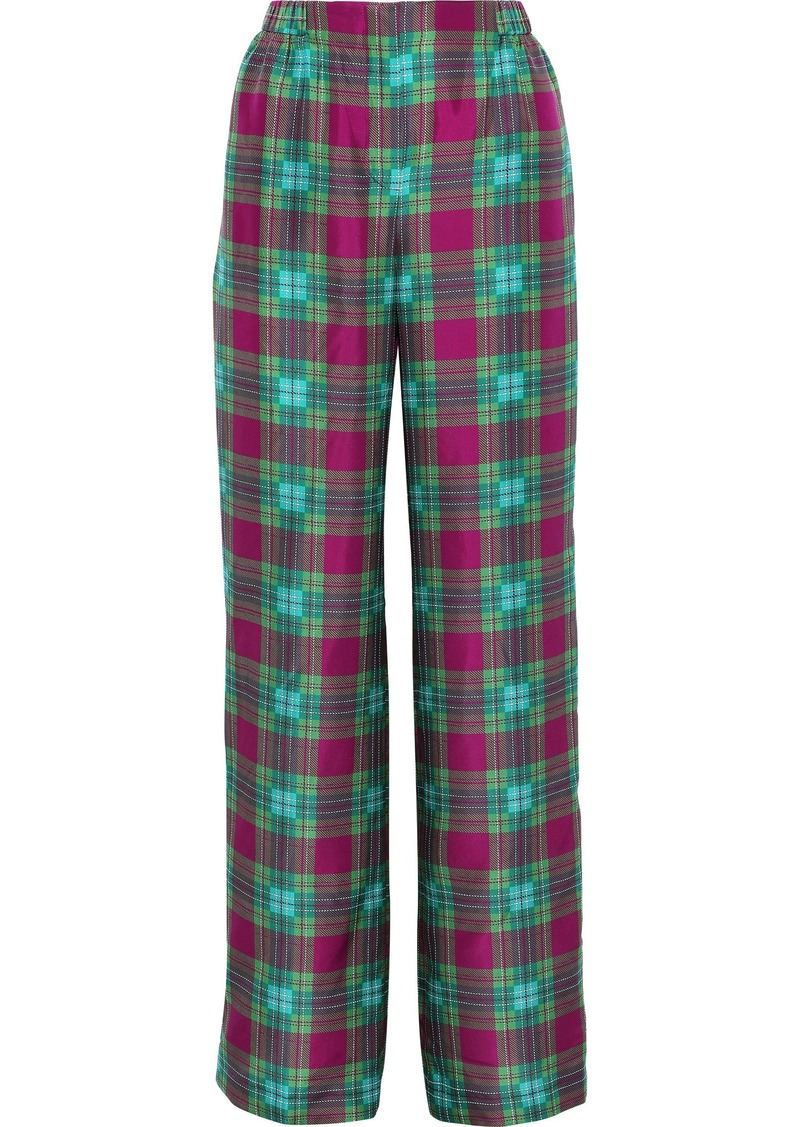 Alberta Ferretti Woman Checked Silk Wide-leg Pants Multicolor