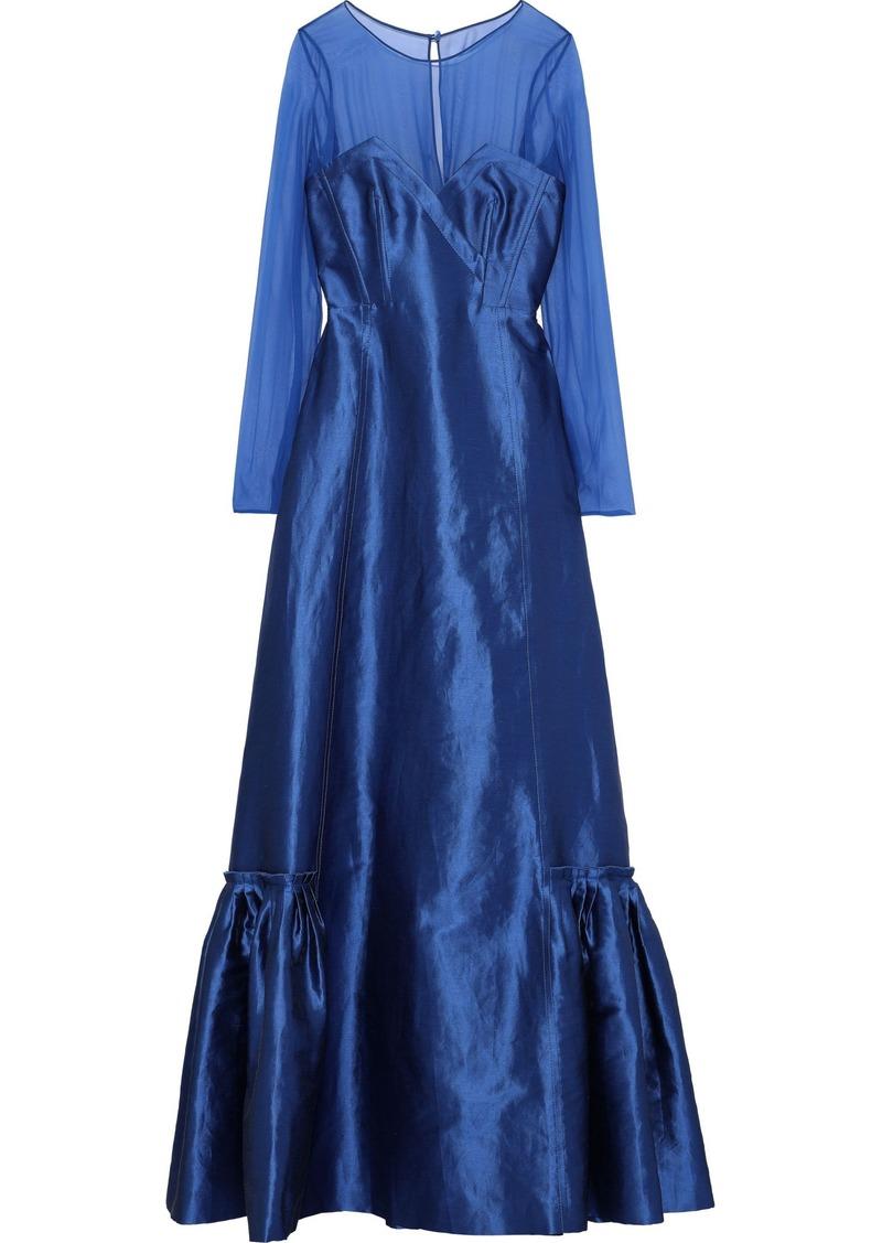 Alberta Ferretti Woman Chiffon-paneled Linen-blend Faille Gown Cobalt Blue