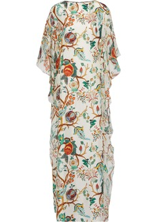 Alberta Ferretti Woman Draped Chiffon-paneled Printed Silk Maxi Dress Off-white