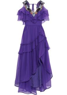 Alberta Ferretti Woman Cold-shoulder Embellished Ruffled Silk-chiffon Gown Purple