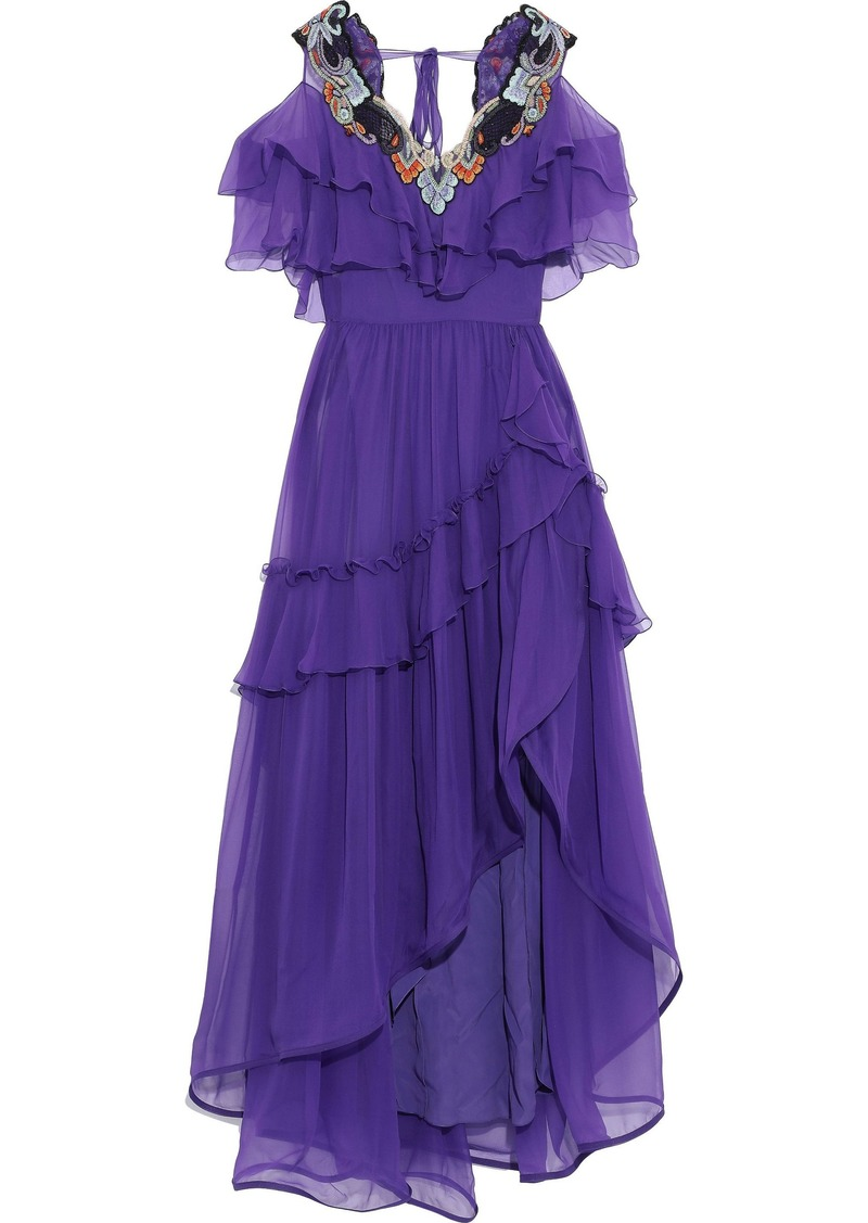 Alberta Ferretti Woman Cold-shoulder Embellished Ruffled Silk-chiffon Gown Purple