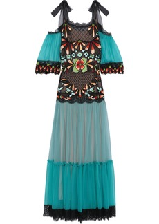 Alberta Ferretti Woman Cold-shoulder Embellished Tulle-paneled Silk-chiffon Gown Turquoise
