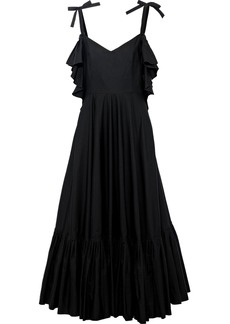 Alberta Ferretti Woman Cold-shoulder Pleated Cotton-poplin Midi Dress Black