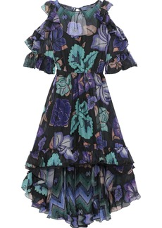 Alberta Ferretti Woman Cold-shoulder Ruffle-trimmed Printed Silk-chiffon Dress Purple