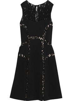 Alberta Ferretti Woman Corded Lace-paneled Ponte Dress Black