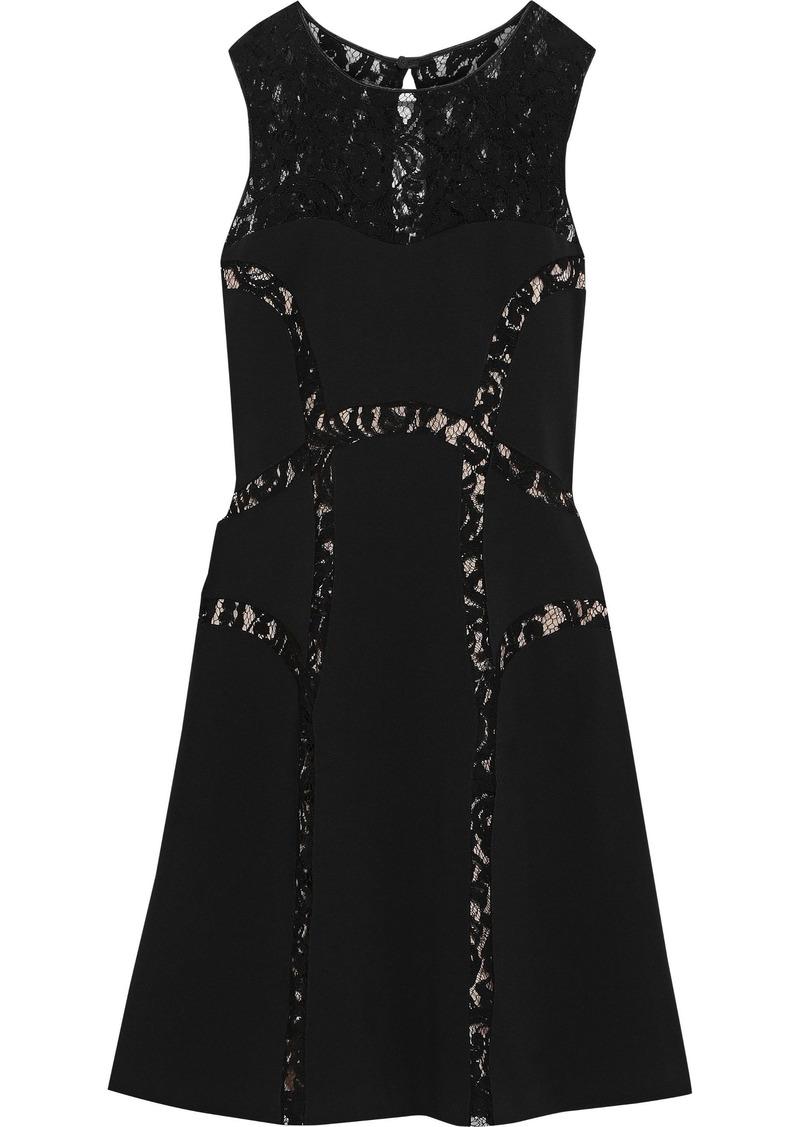 Alberta Ferretti Woman Corded Lace-paneled Ponte Dress Black