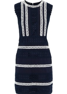 Alberta Ferretti Woman Cotton-blend Grosgrain And Guipure Lace Mini Dress Navy
