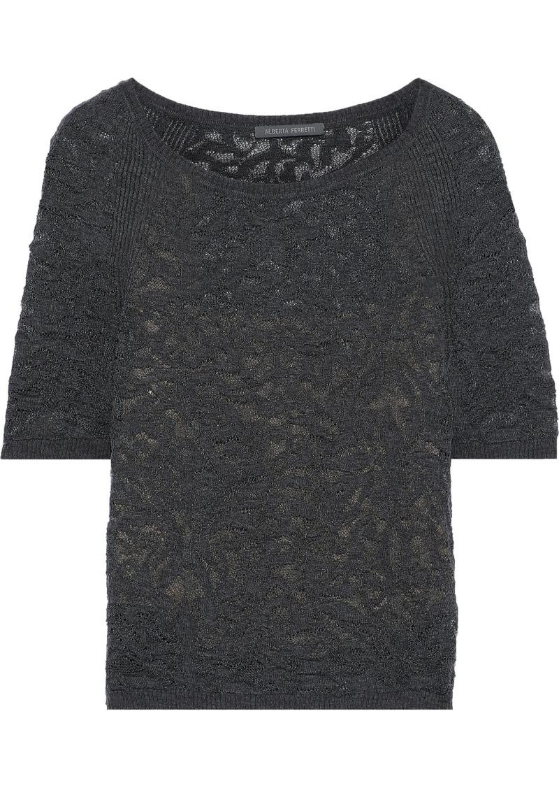 Alberta Ferretti Woman Crochet-knit Wool Top Dark Gray