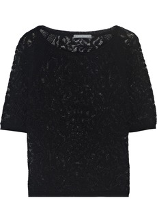 Alberta Ferretti Woman Crochet-knit Wool Top Black