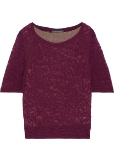 Alberta Ferretti Woman Crochet-knit Wool Top Plum