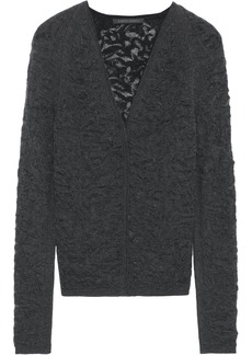 Alberta Ferretti Woman Crochet-knit Wool Top Dark Gray